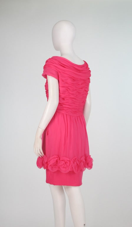 Women's 1980s Victor Edelstein hot pink silk chiffon rose hem cocktail dress For Sale