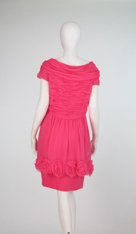 1980s Victor Edelstein hot pink silk chiffon rose hem cocktail dress For Sale 1