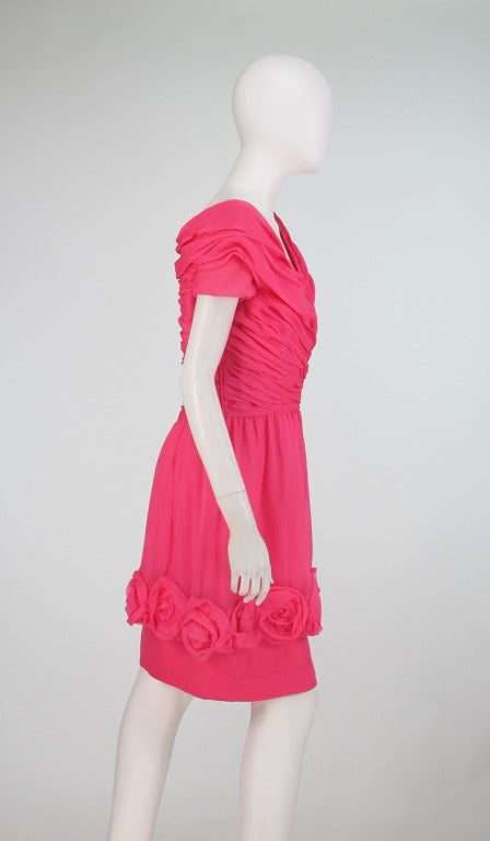 1980s Victor Edelstein hot pink silk chiffon rose hem cocktail dress For Sale 2