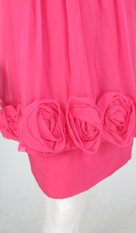 1980s Victor Edelstein hot pink silk chiffon rose hem cocktail dress For Sale 4