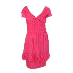 1980s Victor Edelstein hot pink silk chiffon rose hem cocktail dress