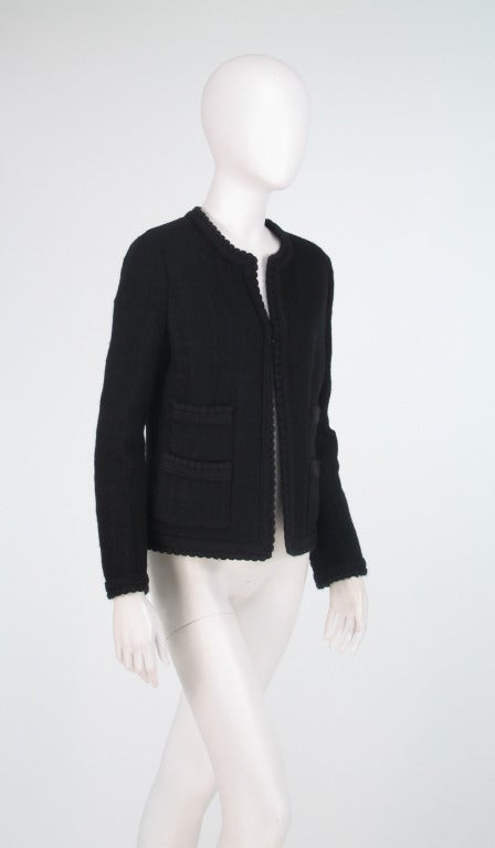 1990s Chanel classic little black boucle jacket In Excellent Condition In West Palm Beach, FL