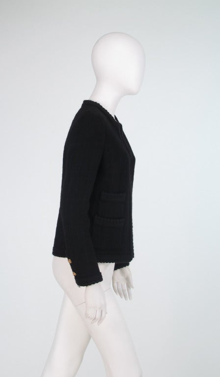 Women's 1990s Chanel classic little black boucle jacket