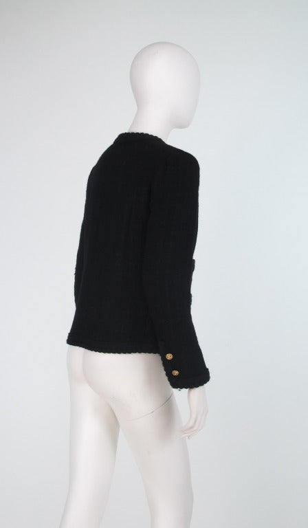 1990s Chanel classic little black boucle jacket 1