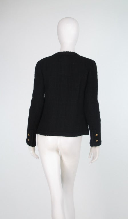 1990s Chanel classic little black boucle jacket 2