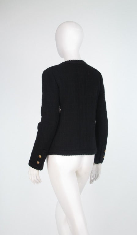 1990s Chanel classic little black boucle jacket 3