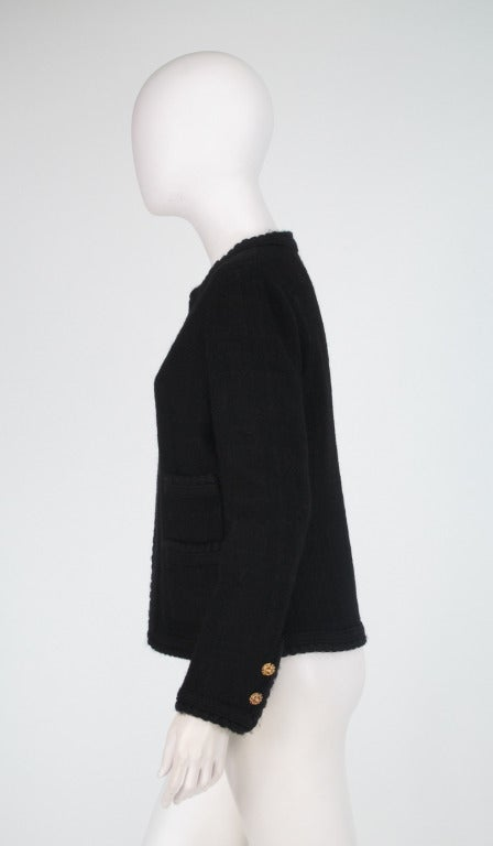 1990s Chanel classic little black boucle jacket 4