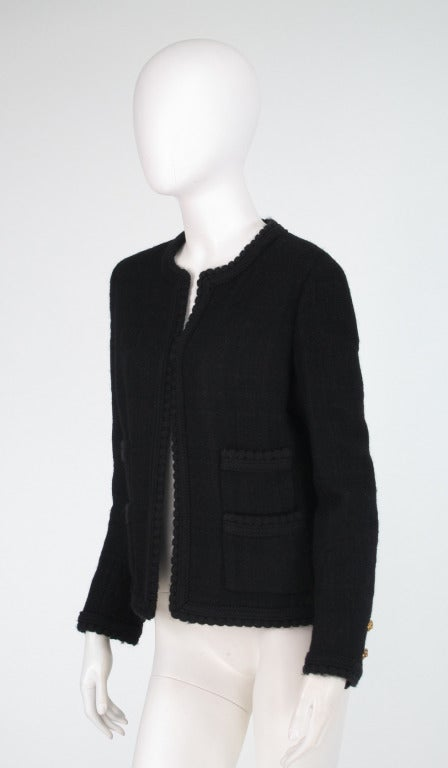 1990s Chanel classic little black boucle jacket 5