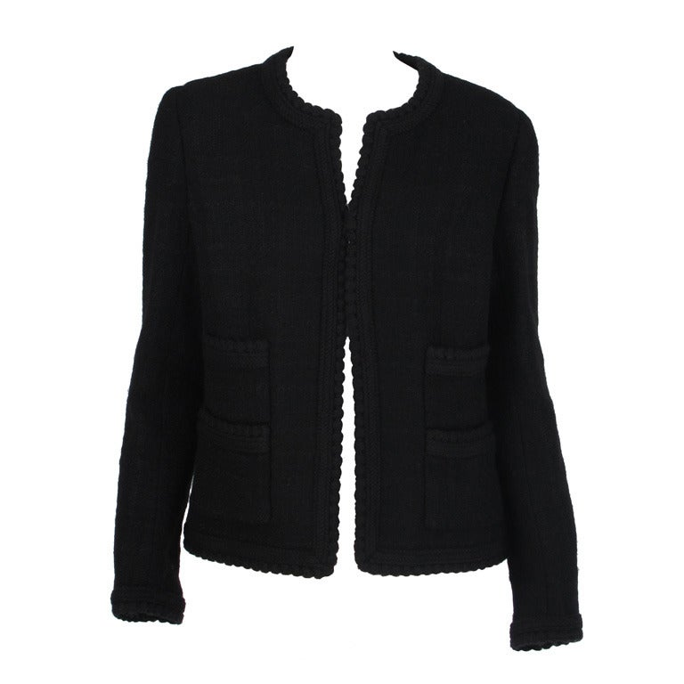 1990s Chanel classic little black boucle jacket