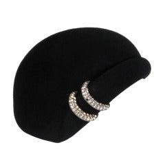 1960s Halston black felt cocktail hat with rhinestone trim