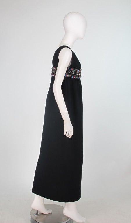 Elizabeth Arden black plunge neck column gown with jewel band 1960s 3