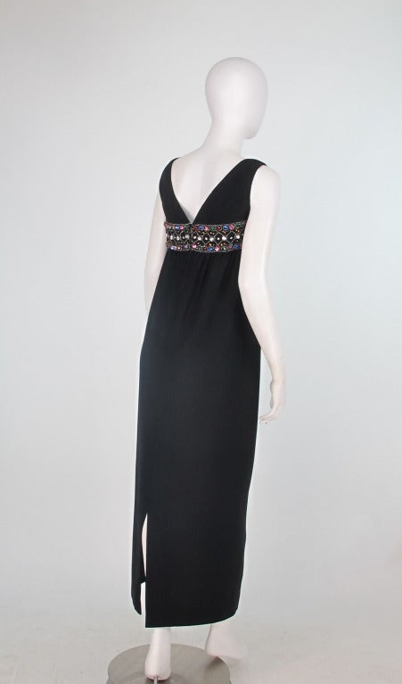 Elizabeth Arden black plunge neck column gown with jewel band 1960s 4