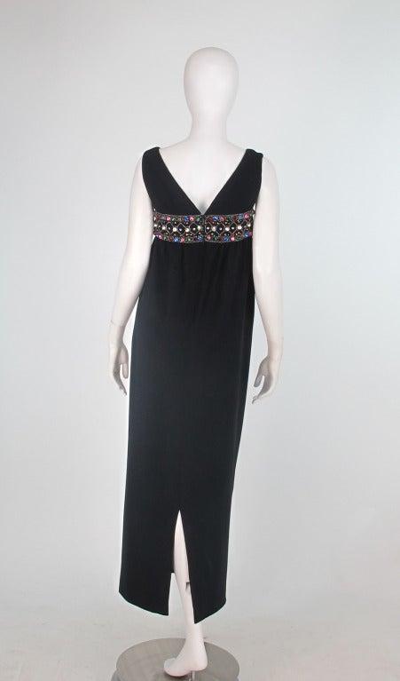 Elizabeth Arden black plunge neck column gown with jewel band 1960s 5