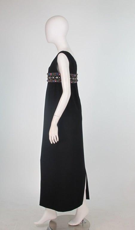 Elizabeth Arden black plunge neck column gown with jewel band 1960s 7