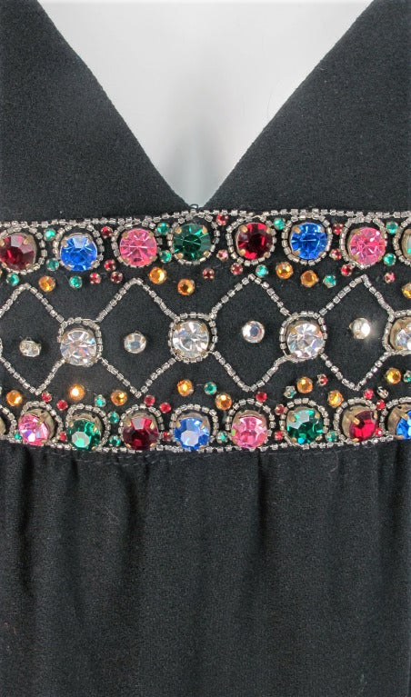 Elizabeth Arden black plunge neck column gown with jewel band 1960s 8