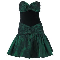 1980s Victor Costa bottle green taffeta & velvet strapless mini dress