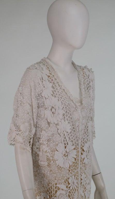 1920s irish crochet lace wedding dress and slip for sale for Crochet wedding dresses for sale