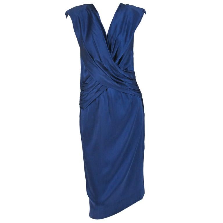 1990s John Anthony marine blue silk cocktail dress 1