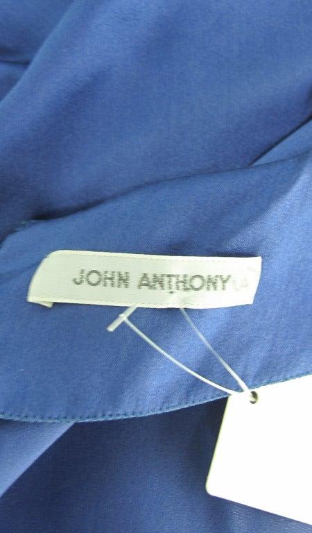 1990s John Anthony marine blue silk cocktail dress 9