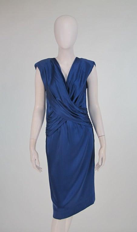 1990s John Anthony marine blue silk cocktail dress 2