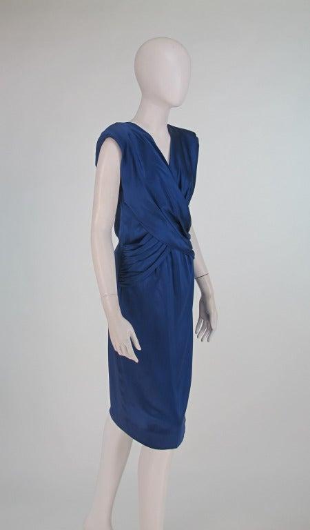 1990s John Anthony marine blue silk cocktail dress 3