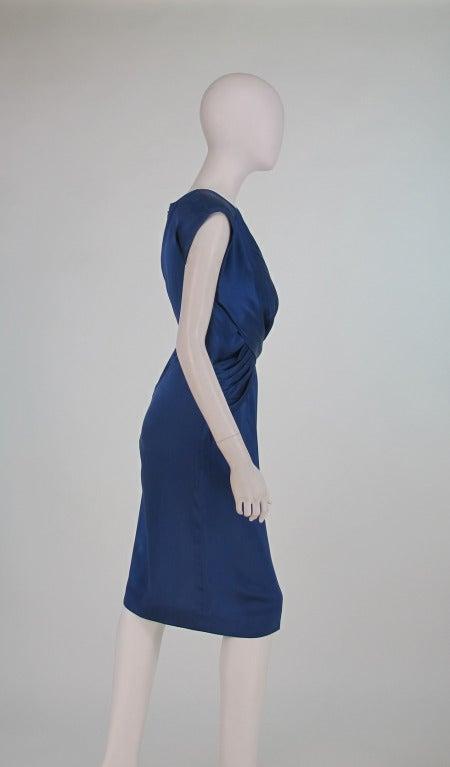 1990s John Anthony marine blue silk cocktail dress 4