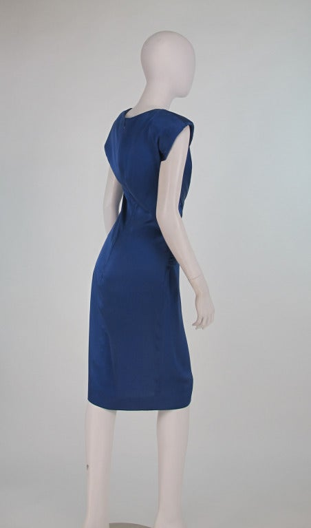 1990s John Anthony marine blue silk cocktail dress 5