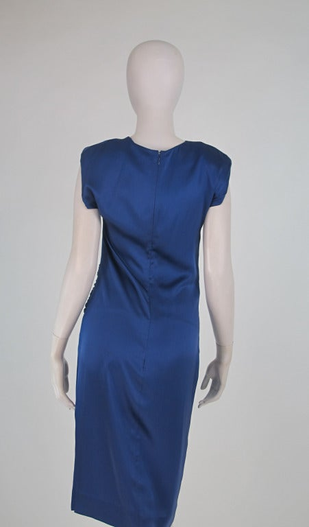 1990s John Anthony marine blue silk cocktail dress 6