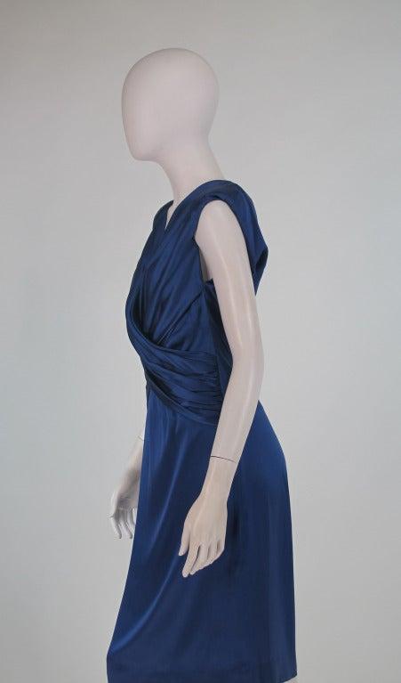 1990s John Anthony marine blue silk cocktail dress 7