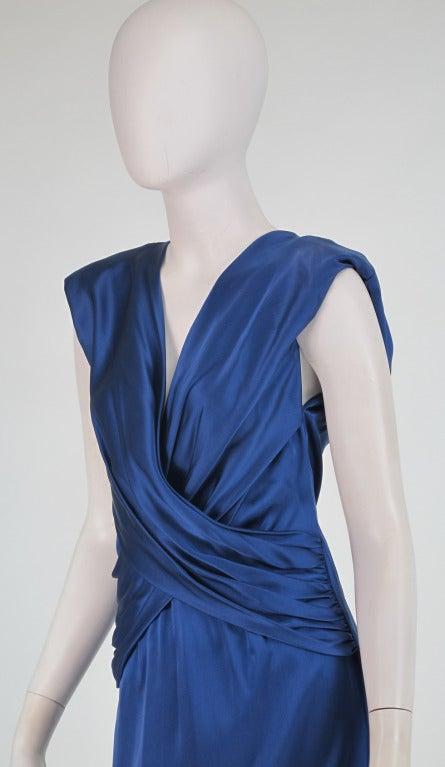 1990s John Anthony marine blue silk cocktail dress 8