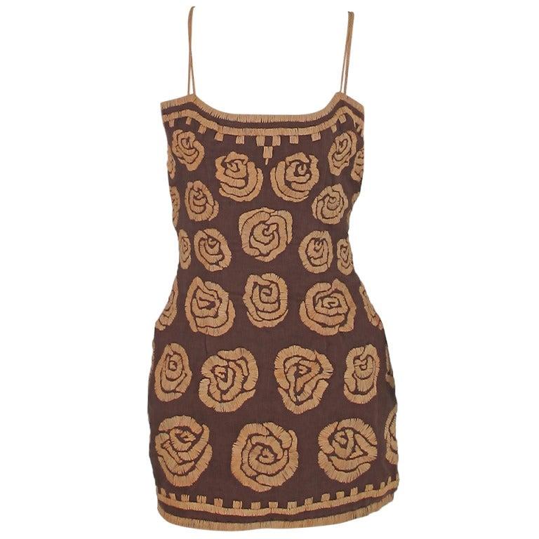 Violeta Villacorte Clothing Artisan linen & raffia tunic dress For Sale
