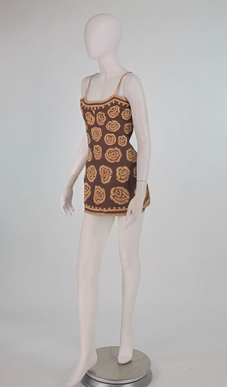 Brown Violeta Villacorte Clothing Artisan linen & raffia tunic dress For Sale