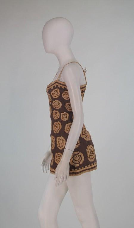 Violeta Villacorte Clothing Artisan linen & raffia tunic dress In Excellent Condition For Sale In West Palm Beach, FL