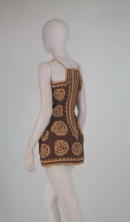 Women's Violeta Villacorte Clothing Artisan linen & raffia tunic dress For Sale
