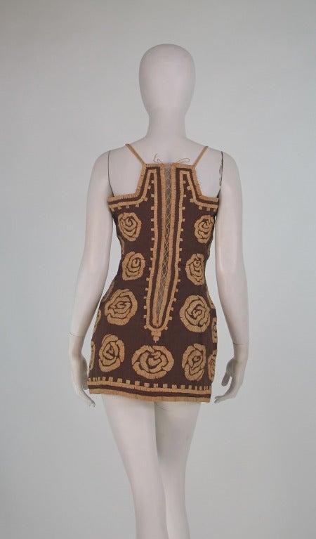 Violeta Villacorte Clothing Artisan linen & raffia tunic dress For Sale 1
