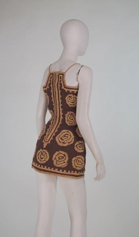 Violeta Villacorte Clothing Artisan linen & raffia tunic dress For Sale 2