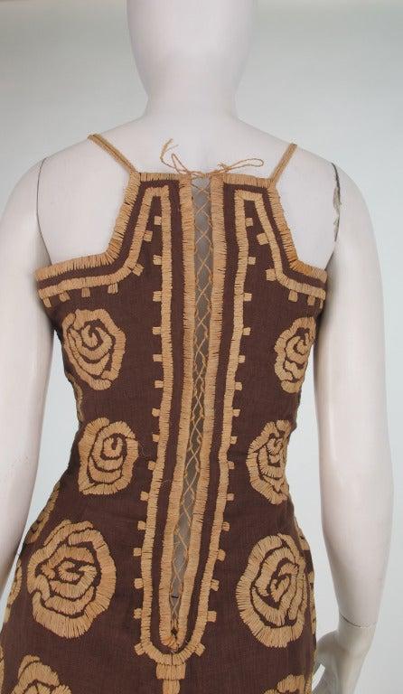 Violeta Villacorte Clothing Artisan linen & raffia tunic dress For Sale 4