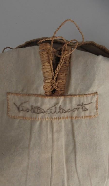 Violeta Villacorte Clothing Artisan linen & raffia tunic dress For Sale 5