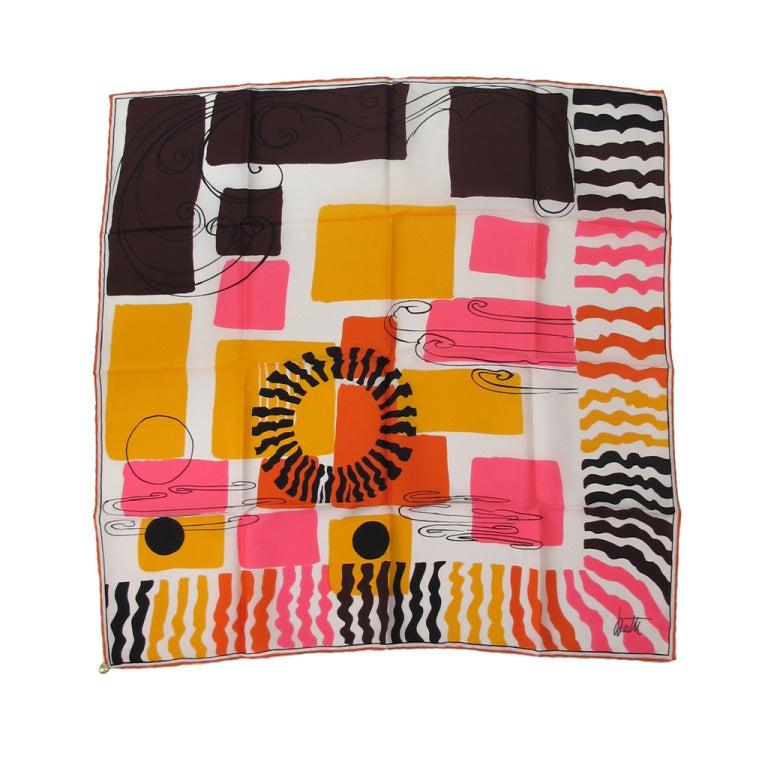 1960s Mid Century Modern design silk scarf by Butti