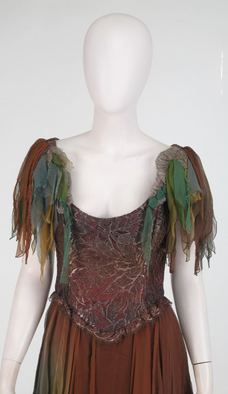 1980s Zandra Rhodes ombre chiffon & silver metallic lace fairy dress...Muted ombred silk chiffon in shades of cocoa, brown, aqua, russet and teals...Low scoop neckline, with fluttery chiffon sleeves...The bodice of the dress is ombre chiffon with