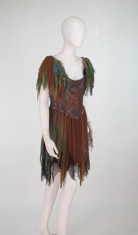 Brown 1980s Zandra Rhodes ombre chiffon & silver lace fairy dress For Sale