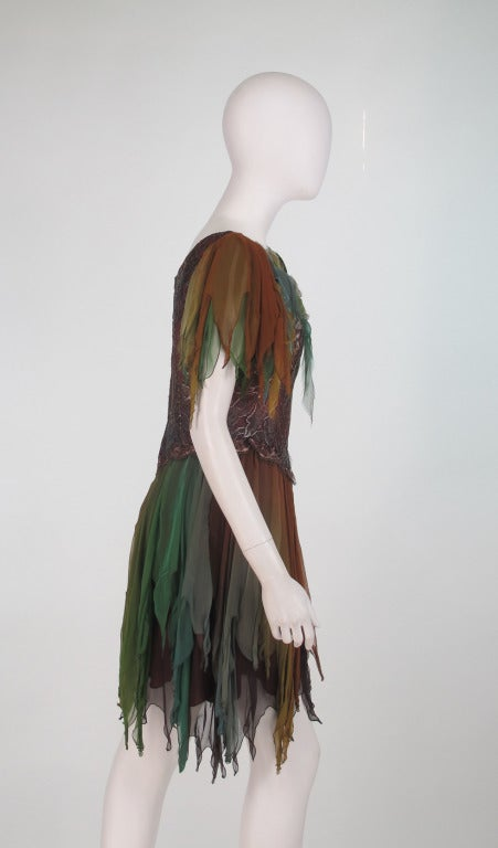 1980s Zandra Rhodes ombre chiffon & silver lace fairy dress In Excellent Condition For Sale In West Palm Beach, FL