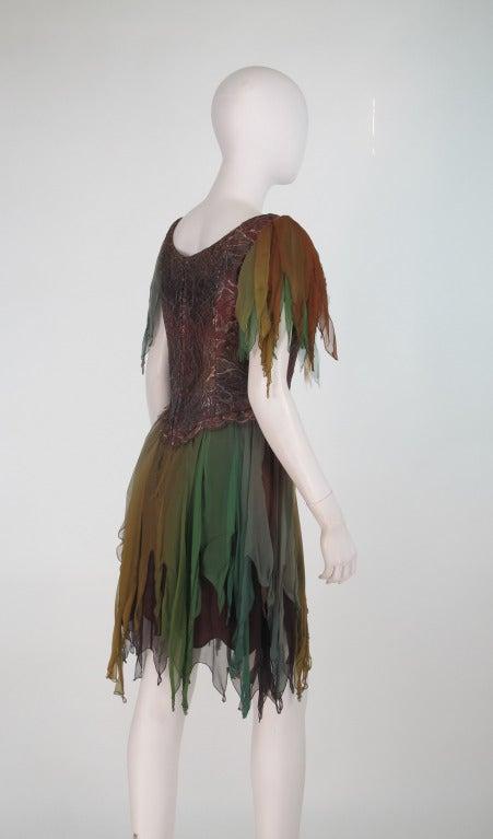 Women's 1980s Zandra Rhodes ombre chiffon & silver lace fairy dress For Sale