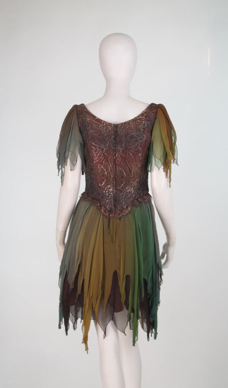 1980s Zandra Rhodes ombre chiffon & silver lace fairy dress For Sale 1