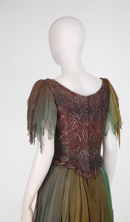 1980s Zandra Rhodes ombre chiffon & silver lace fairy dress For Sale 2