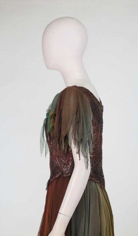 1980s Zandra Rhodes ombre chiffon & silver lace fairy dress For Sale 3