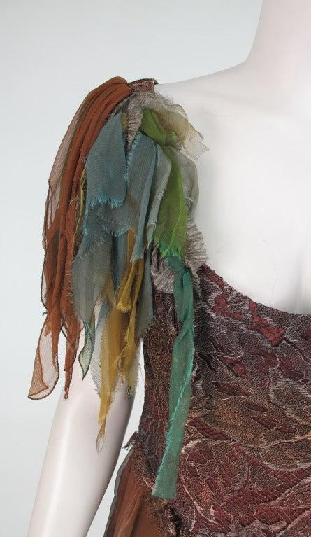 1980s Zandra Rhodes ombre chiffon & silver lace fairy dress For Sale 4