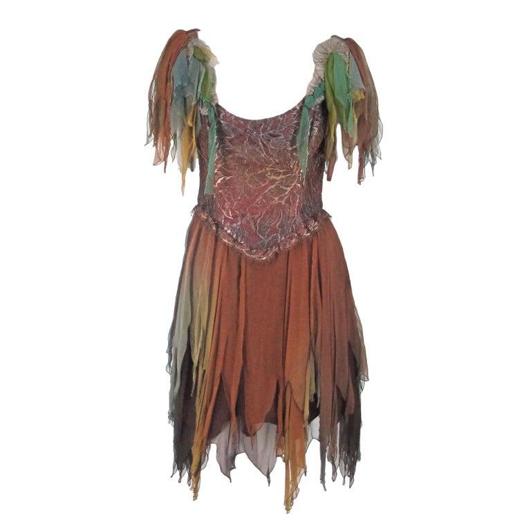 1980s Zandra Rhodes ombre chiffon & silver lace fairy dress For Sale