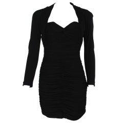 "1980s Vicky Tiel ""Fauve""  shirred drape cocktail dress"