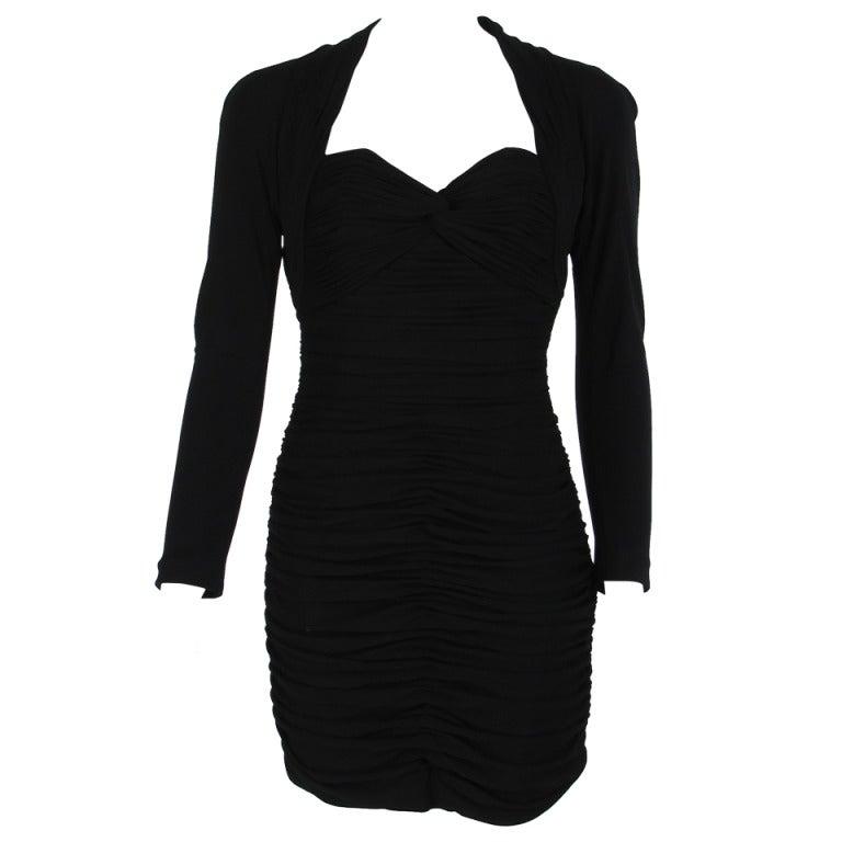 "1980s Vicky Tiel ""Fauve""  shirred drape cocktail dress For Sale"